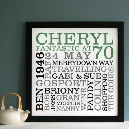 Personalised 70th Birthday Typographic Art